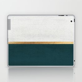 Deep Green, Gold and White Color Block Laptop & iPad Skin