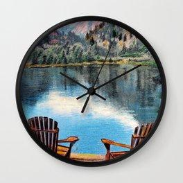 'Sit & Breathe' Adirondack Chair Original Art - Mountain Lake Wall Decor Wall Clock
