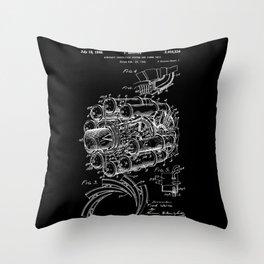 Jet Engine: Frank Whittle Turbojet Engine Patent - White on Black Throw Pillow