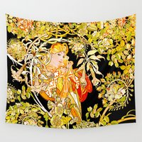 mucha Wall Tapestries featuring Marguerite's Bower, Mucha by Vintage Era Art
