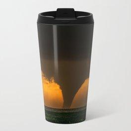 Silhouette - Large Tornado at Sunset in Kansas Travel Mug