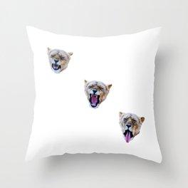 Yawning Lions Throw Pillow