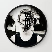 american beauty Wall Clocks featuring American Beauty/American Psycho by Abby Gracey