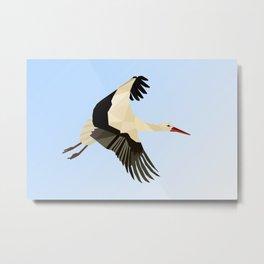 WHITE STROKE BIRD LOW POLY ART Metal Print