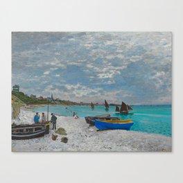 Claude Monet - The Beach at Sainte-Adresse Impressionist Landscape Oil Painting Canvas Print