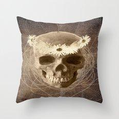 Skull Human Vintage Flowers Digital Collage 2 Throw Pillow