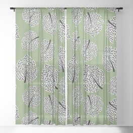 Abstract Monstera Leaf Pattern green Sheer Curtain