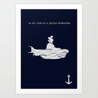 yellow submarine Art Prints featuring Yellow submarine by Little cabin on the hill