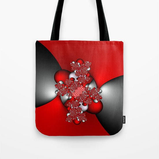 Red and Silver and Black Tote Bag