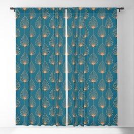 Vintage Copper & Turquoise Art Deco Floral Blackout Curtain