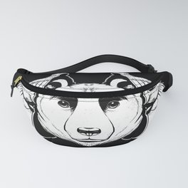 Bear Inside Black And White Fanny Pack