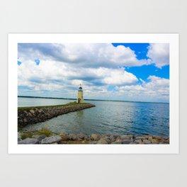 The East Wharf Lighthouse at Lake Hefner, Oklahoma City. Art Print