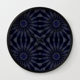 Blue & Black Flowers Wall Clock