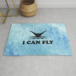 Yes, I Can Fly. Swimming Butterfly Swimmer Cool Sports design Rug