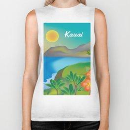 Kauai, Hawaii - Skyline Illustration by Loose Petals Biker Tank