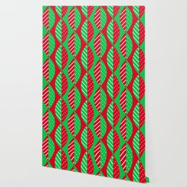 Christmas Mod Leaves in Red and Green Wallpaper