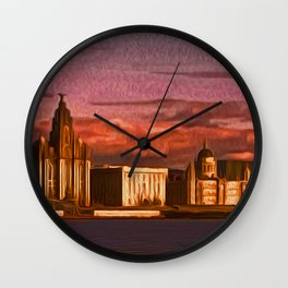 Liverpool Waterfront at Sunset (Digital Art) Wall Clock
