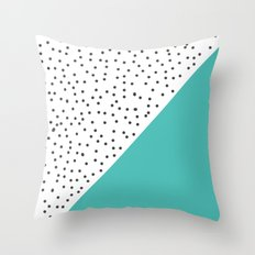 Geometric grey and turquoise design Throw Pillow