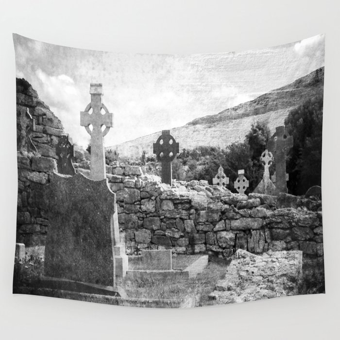 Halloween Graveyard | Horror | Black and White Cemetery | Gothic Graves | Wall Tapestry