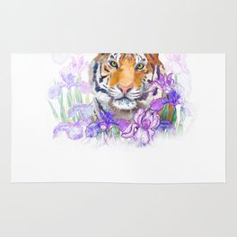 Tiger and flowers iris Rug