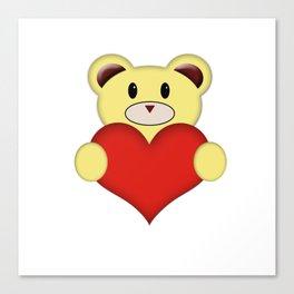 Teddy Bear with love heart Canvas Print