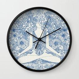 lotus garden vintage blue Wall Clock