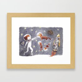 Foxes in space Framed Art Print