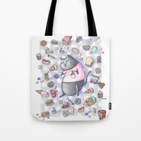 junk food Tote Bags featuring Junk Food Coma Kitty by Frisky Fauna