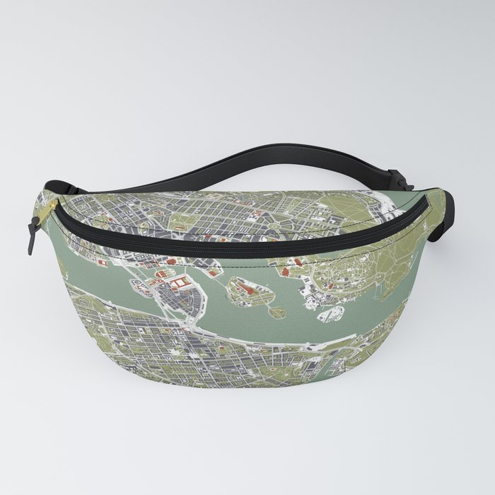 Stockholm city map engraving Fanny Pack
