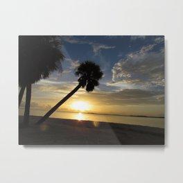 Palm tree sunset on Sanibel causeway Florida Metal Print
