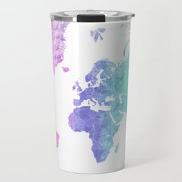 "Rainbow world map in watercolor style ""Jude"" Travel Mug"