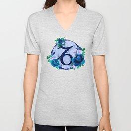 Capricorn Horoscope Blue Flower Monogram Unisex V-Neck