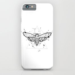 Moth Handmade Drawing, Made in pencil and ink, Tattoo Sketch, Tattoo Flash, Blackwork iPhone Case