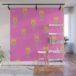 Shy Little Robot (pink) Wall Mural