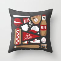baseball Throw Pillows featuring Baseball by Jessica Giles