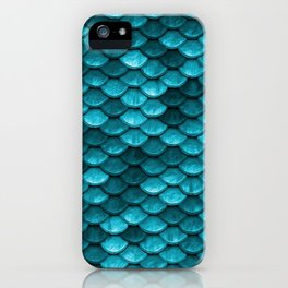 Beach house aqua blue mermaid fish Scales iPhone Case