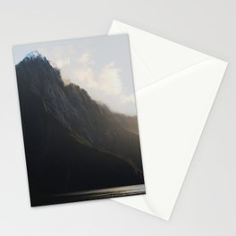 golden hour at milford sound Stationery Cards