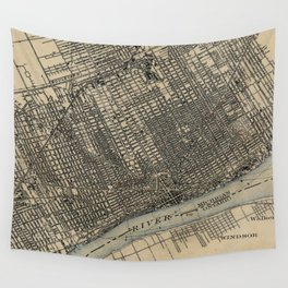 Vintage Map of Detroit Michigan (1904) Wall Tapestry