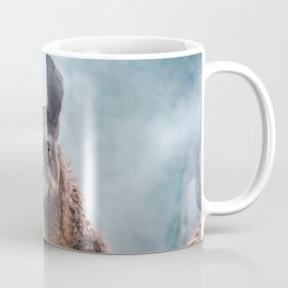 Curious, wise looking guanacao / llama on a blue misty morning in the Andes mountains, Peru Coffee Mug