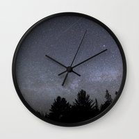 milky way Wall Clocks featuring milky way  by jon hamblin