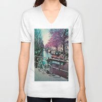 amsterdam V-neck T-shirts featuring amsterdam by Richard PJ Lambert