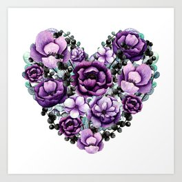 Purple Floral Heart Design Art Print