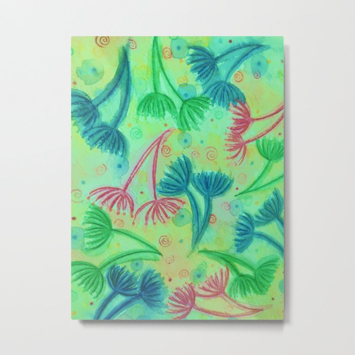 COW PARSLEY - Bright Cherry Acid Green Teal Blue Nature Floral Abstract Watercolor Painting Pattern Metal Print