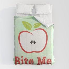 Red Apple Illustration - Bite Me Typography Comforters