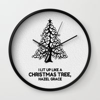 tfios Wall Clocks featuring I lit up like a christmas tree, hazel grace TFIOS JOHN GREEN by monalisacried