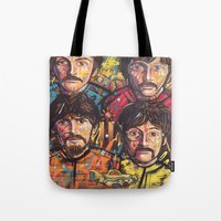 yellow submarine Tote Bags featuring Yellow Submarine by somanypossibilities