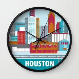 Houston, Texas - Skyline Illustration by Loose Petals Wall Clock