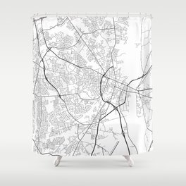 Fayetteville Map, USA - Black and White Shower Curtain