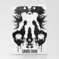 psychology Stationery Cards featuring Samus Aran Metroid Geek Psychological Diagnosis Ink Blot  by Barrett Biggers