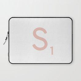 Pink Scrabble Letter S - Scrabble Tile Art and Accessories Laptop Sleeve